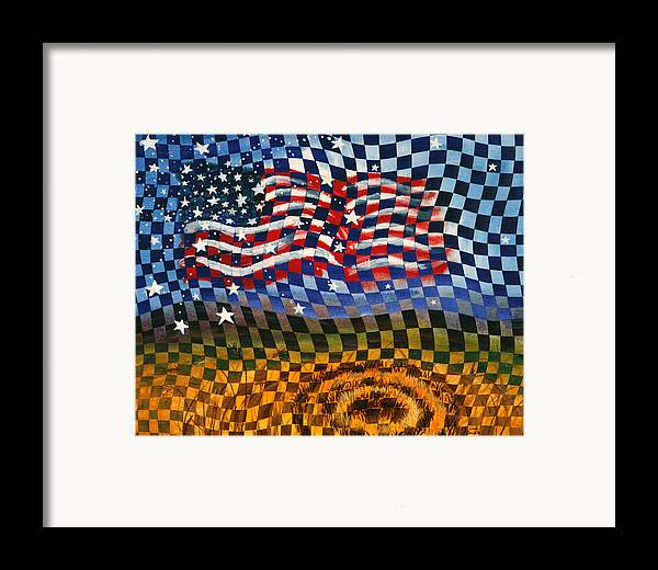 Landscape Framed Print featuring the painting Waves Of Grain by Linda L Doucette