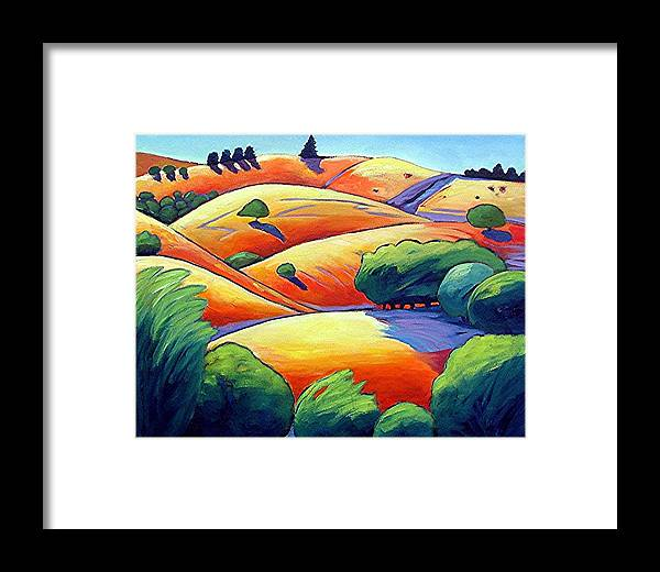 Landscape Framed Print featuring the painting Waves Of Hills by Gary Coleman
