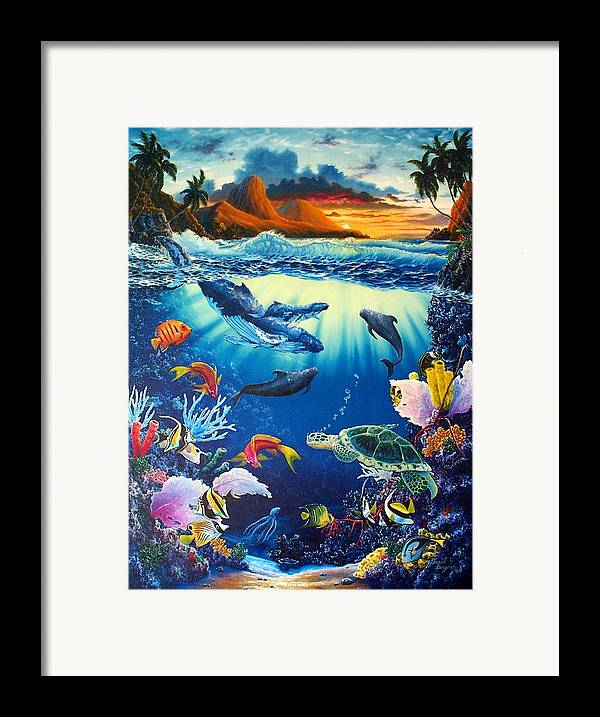 Whale Framed Print featuring the painting Waves Of Light by Daniel Bergren