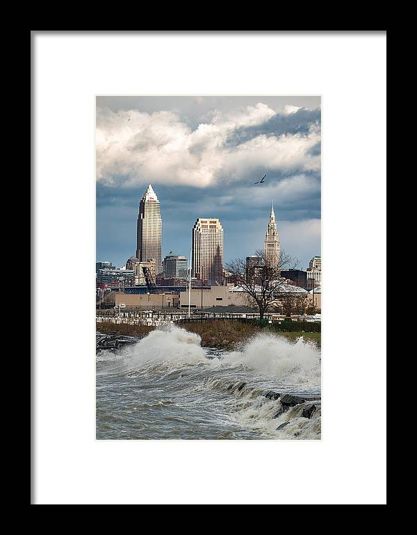 Waves Framed Print featuring the photograph Waves On Cleveland by Brad Hartig - BTH Photography