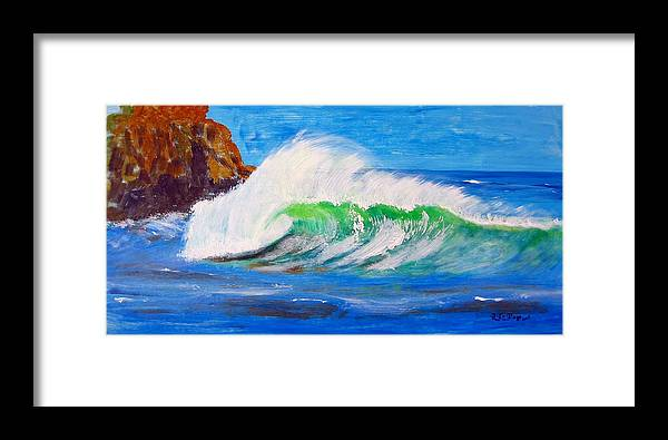 Waves Framed Print featuring the painting Waves by Richard Le Page