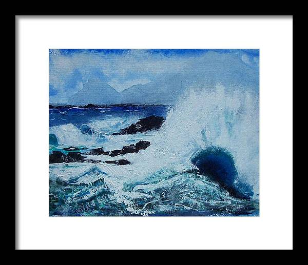 Waves Framed Print featuring the painting Waves by Valerie Wolf