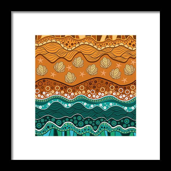 Water Framed Print featuring the digital art Waves by Veronica Kusjen