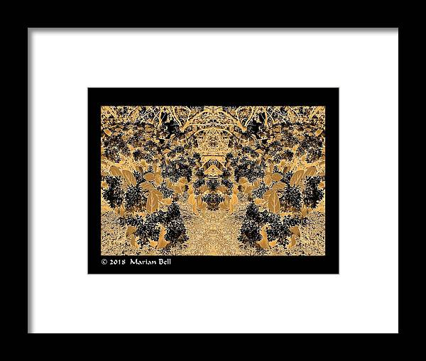 Photography Framed Print featuring the digital art Waxleaf Privet Blooms In Black And White - Color Invert With Golden Tones Abstract by Marian Bell