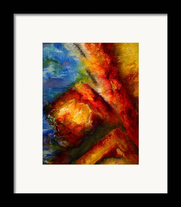 Abstract Framed Print featuring the painting Ways by Lou Ewers
