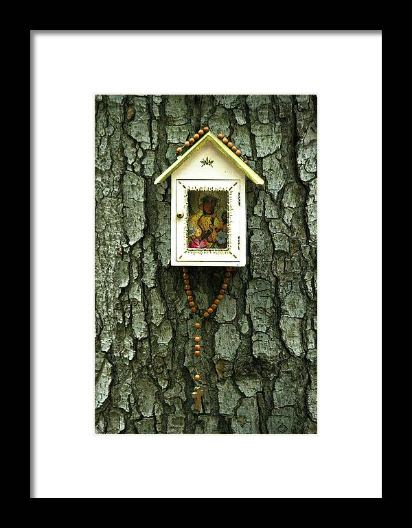 Small Chapel Framed Print featuring the photograph Wayside Shrine by Marta Grabska-Press