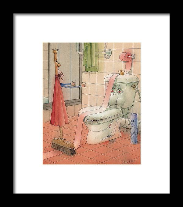 Wc Framed Print featuring the painting WC Story by Kestutis Kasparavicius