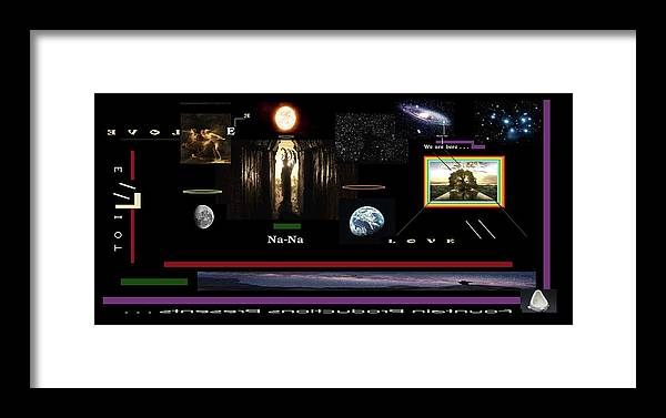Cosmic Framed Print featuring the digital art We Are Here by Gregg Elliot