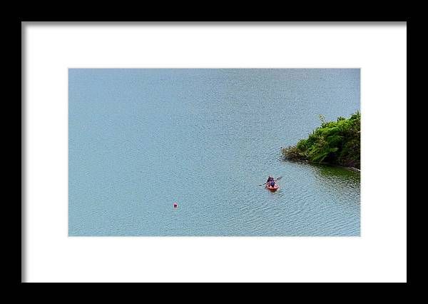Couple Kayaking At Lake Garzas Framed Print featuring the photograph We Are One by Walter Rivera Santos