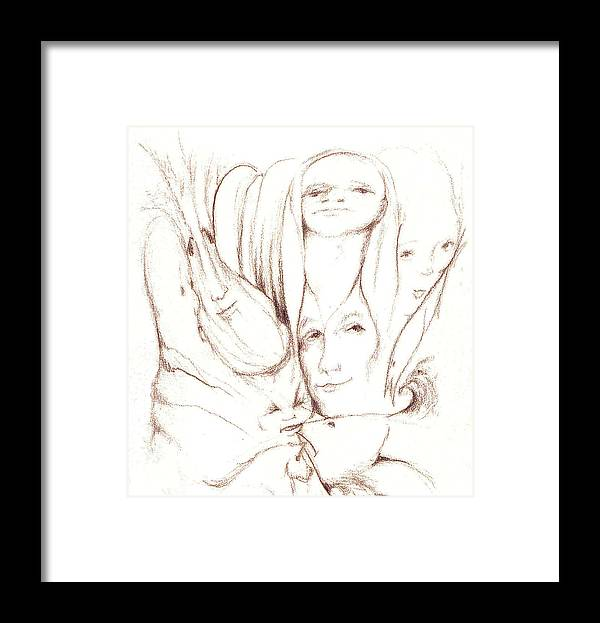 Faces Framed Print featuring the drawing We Are Watching by Stephanie H Johnson