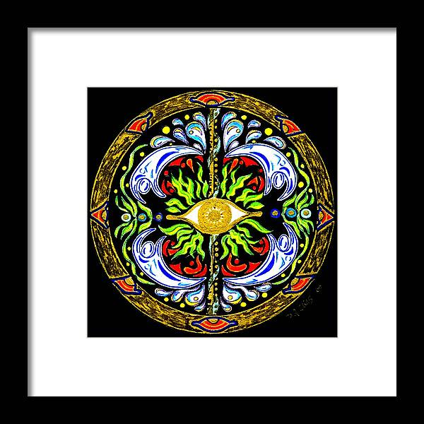 Mandala Framed Print featuring the painting We Are Water by Pam Ellis
