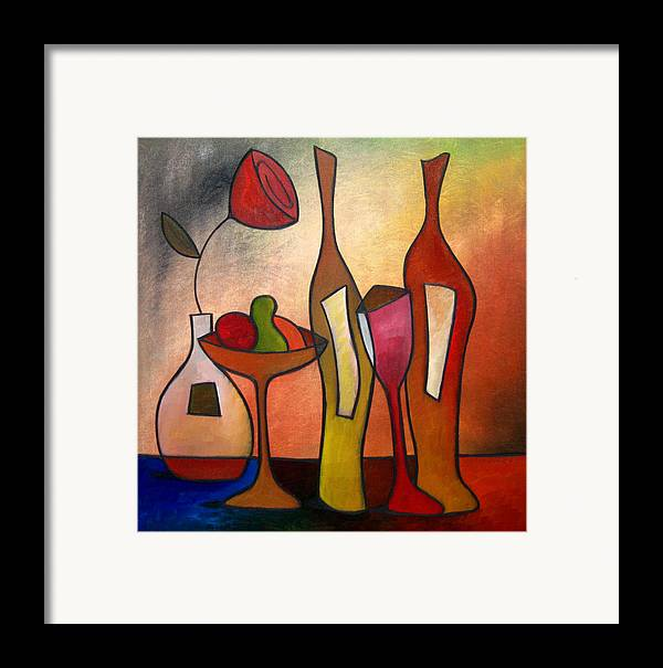 Pop Art Framed Print featuring the painting We Can Share - Abstract Wine Art By Fidostudio by Tom Fedro - Fidostudio