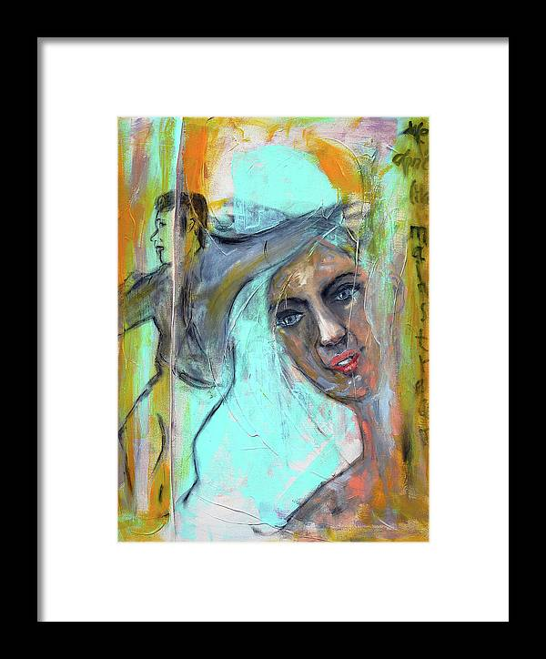 Portrait Framed Print featuring the painting We Don T Like Mainstream by Regina Baumann