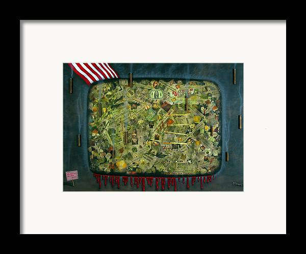 War Framed Print featuring the painting We Don't See The Whole Picture by James W Johnson