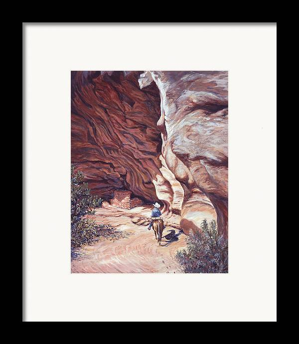 Landscape Framed Print featuring the painting We Have A Visitor by Page Holland