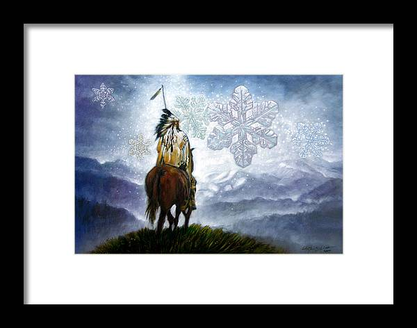 American Indian Framed Print featuring the painting We Vanish Like The Snow Flake by John Lautermilch