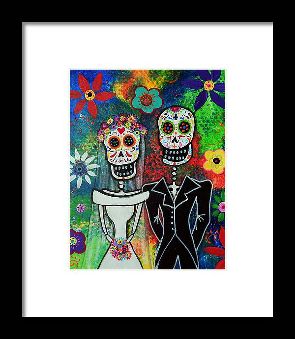 Day Of The Dead Framed Print Featuring Painting Wedding Couple By