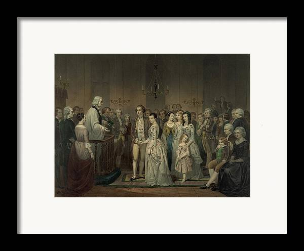 History Framed Print featuring the photograph Wedding Of George Washington And Martha by Everett