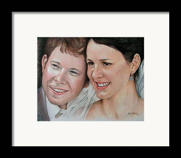 Portraits Framed Print featuring the painting Wedding Portrait by Joan Garcia