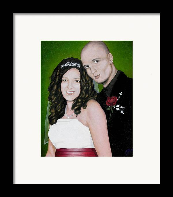 Portrait Framed Print featuring the painting Wedding Portrait Of Clint And Ashley by Joe Michelli