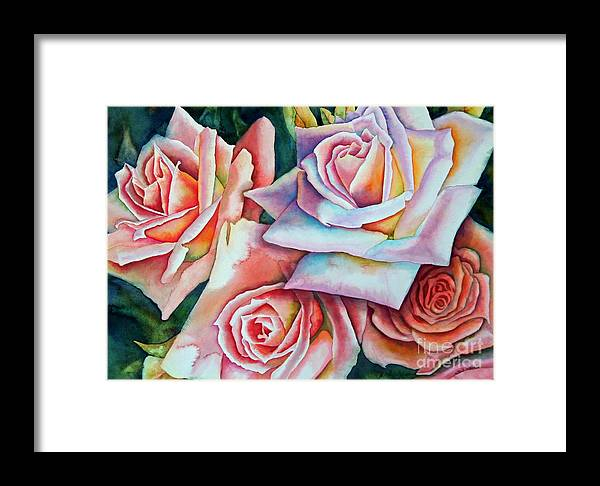 Floral Framed Print featuring the painting Wedding Roses by Gail Zavala