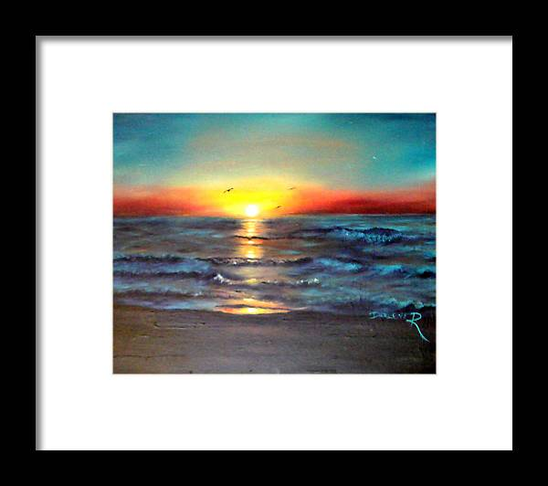 Sun Framed Print featuring the painting Wedding Sunrise On Indian Harbour Beach Florida by Darlene Green