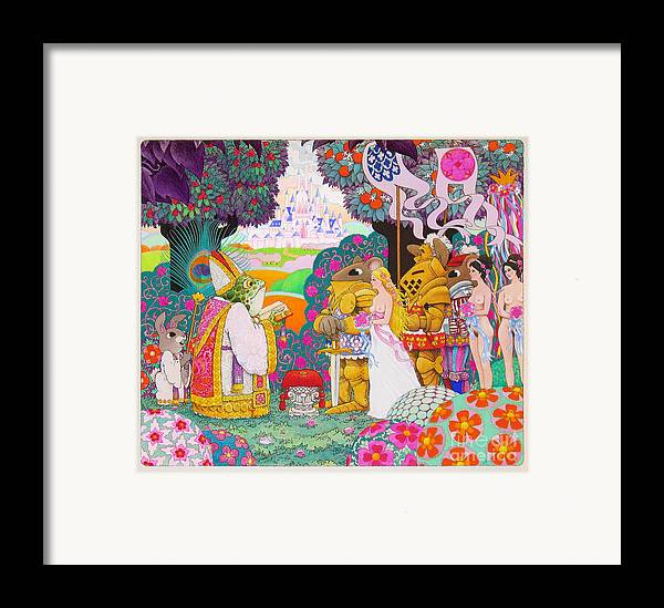 Fantasy Illustration; Medieval; Fantasy; Castles; Erotic Fantasy; Knights And Ladies; Frogs; Rabbits Framed Print featuring the painting Wedding by Terry Anderson