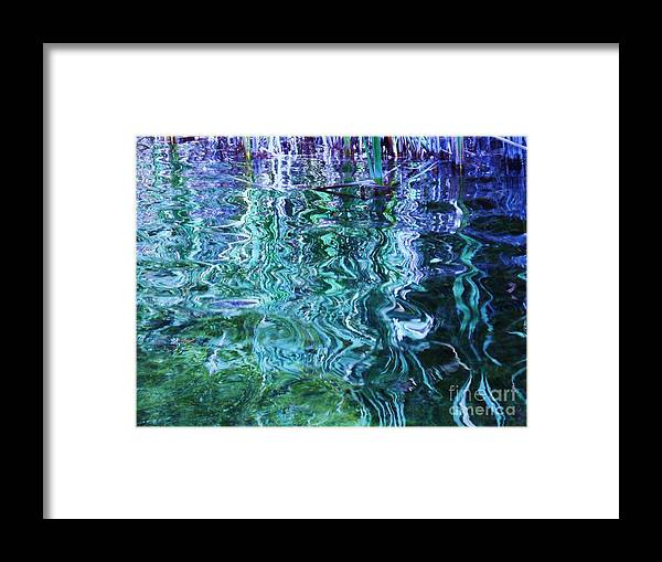 Photograph Blue Green Weed Shadow Lake Water Framed Print featuring the photograph Weed Shadows by Seon-Jeong Kim