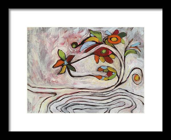 Abstract Framed Print featuring the painting Weeds1 by Michelle Spiziri
