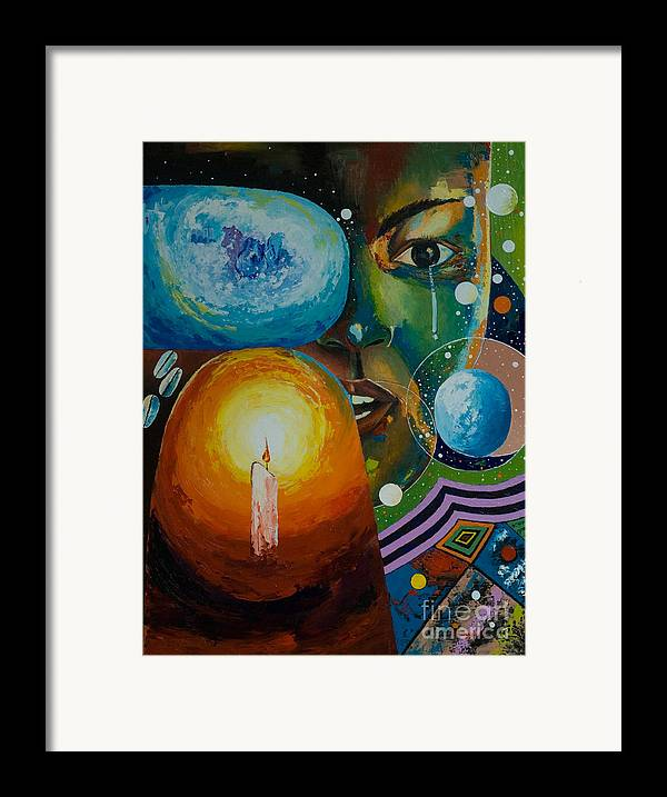 Framed Print featuring the painting Weep Not Child by Alfred Awonuga