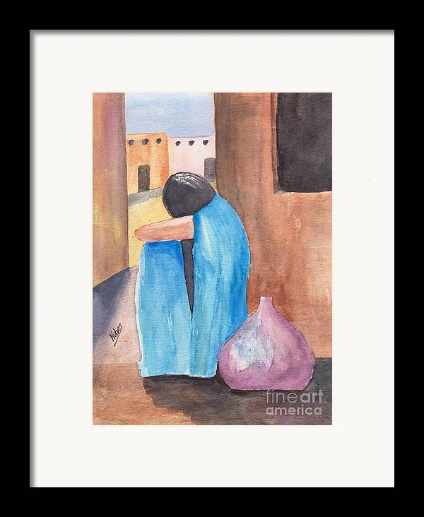 Southwest Framed Print featuring the painting Weeping Woman by Susan Kubes
