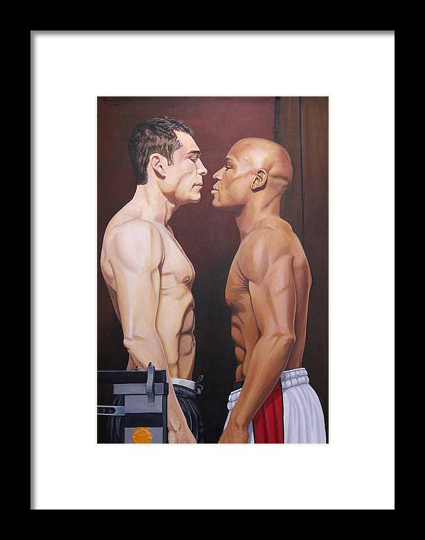 Boxer Framed Print featuring the painting Weighin Staredown by Kenneth Kelsoe