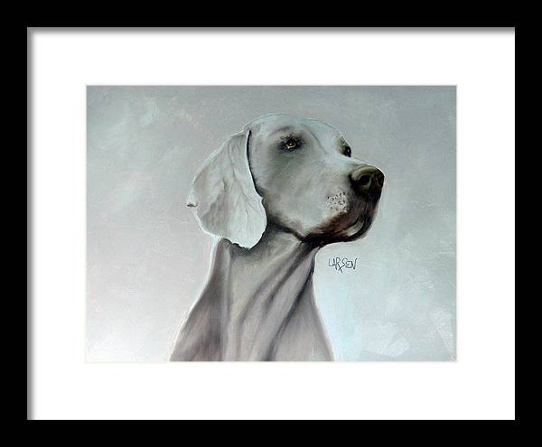 Framed Print featuring the painting Weimaraner by Dick Larsen