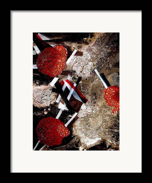Framed Print featuring the painting Weird Fruits by Evguenia Men