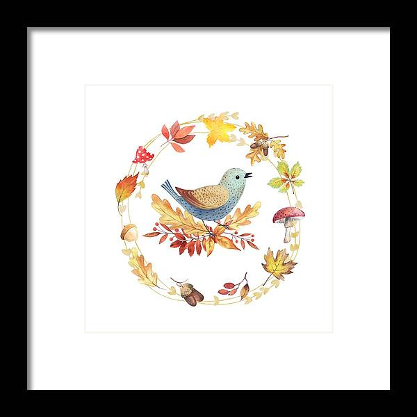 Painting Framed Print featuring the painting Welcome Back Autumn by Little Bunny Sunshine