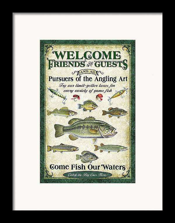 Fish Framed Print featuring the painting Welcome Friends Sign by JQ Licensing