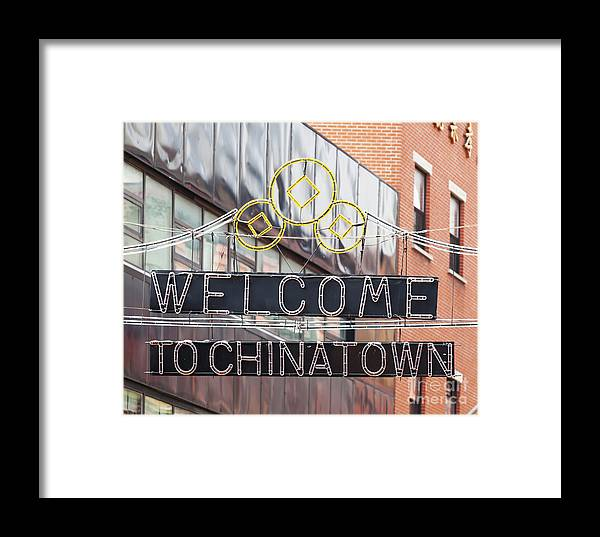 Sign Framed Print featuring the photograph Welcome To Chinatown Sign In Manhattan by Antonio Gravante