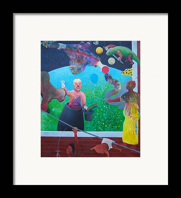 Human Relationships Framed Print featuring the painting Welcome To Circus Earth by Richard Heley