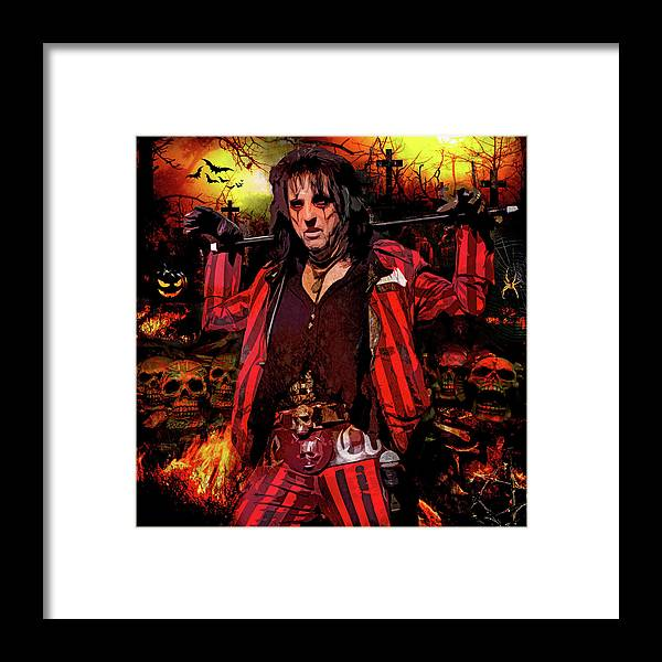 Alice Cooper Framed Print featuring the digital art Welcome to my Nightmare by Mal Bray
