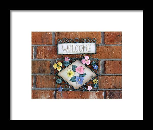 Welcome Sign Signage Ornament Framed Print featuring the photograph Welcome To Our Home by Linda Ebarb