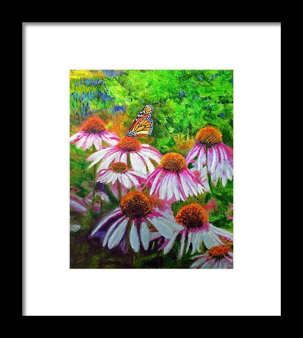 Butterfly Framed Print featuring the painting Welcomed Visitor by Michael Durst