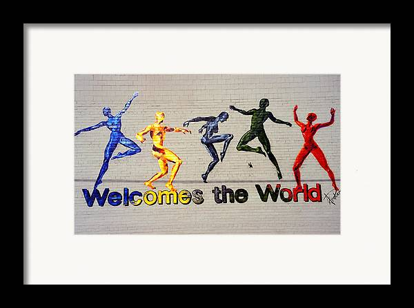Art Framed Print featuring the photograph Welcomes The World Mural by Steve Ohlsen