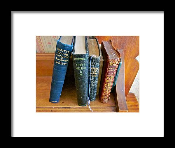 Photograph Of Old Books Framed Print featuring the photograph Well Worn ... Well Read ... Well ... by Gwyn Newcombe