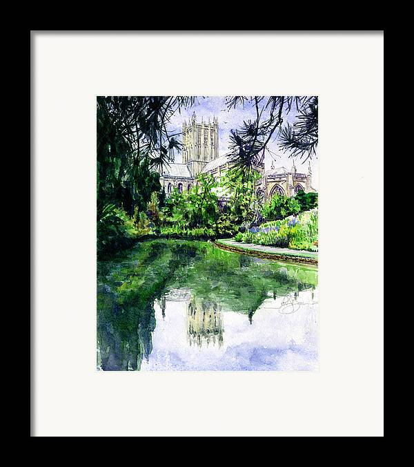 Wells Framed Print featuring the painting Wells Cathedral by John D Benson