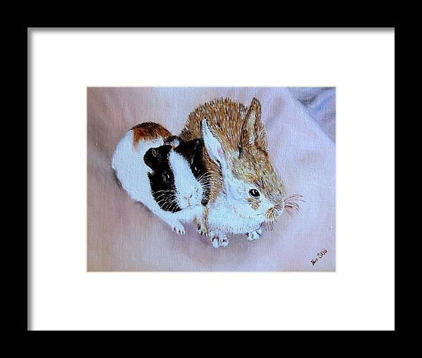 Pets Framed Print featuring the painting Wendy And Bobby by Helmut Rottler