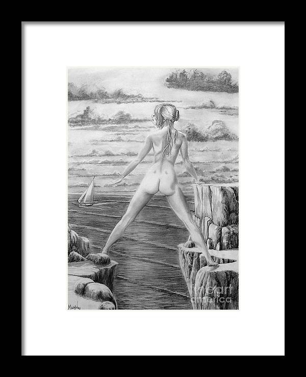 Nude Framed Print featuring the drawing Wendy From Memory. by Murphy Elliott