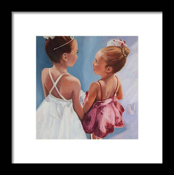 Ballerinas Framed Print featuring the painting We're On Next by Johanna Wray