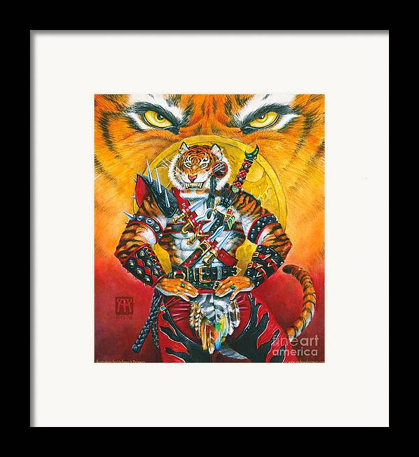 Fantasy Framed Print featuring the painting Werecat Warrior by Melissa A Benson