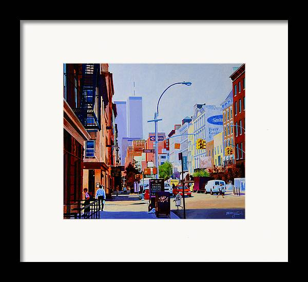 Spring Street Framed Print featuring the painting West Broadway by John Tartaglione