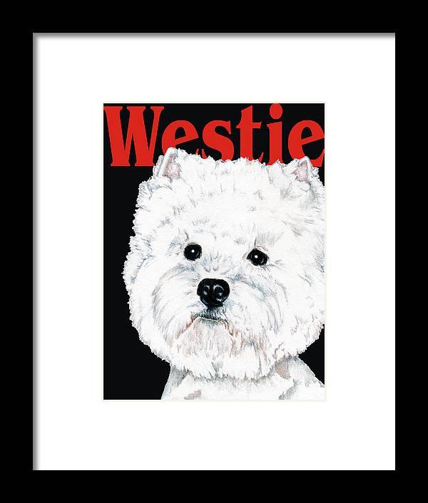 Westie Framed Print featuring the drawing West Highland White Terrier Westie Urban Pop by Kathleen Sepulveda